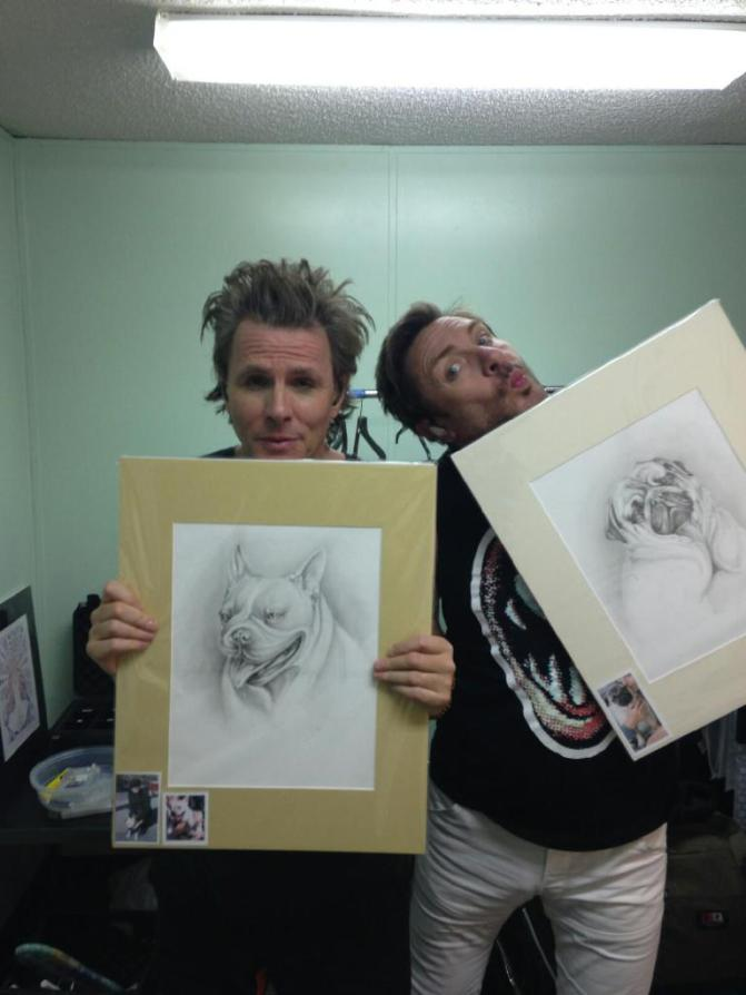 John and Simon with Dog Drawings
