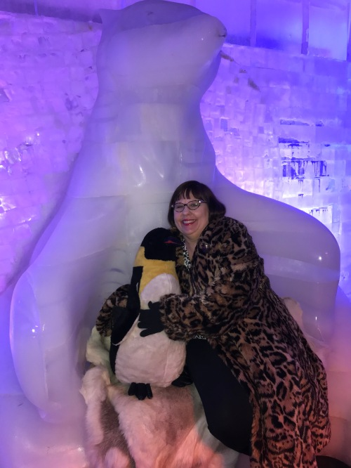Sandra Sitting in the Ice Polar Bear Chair